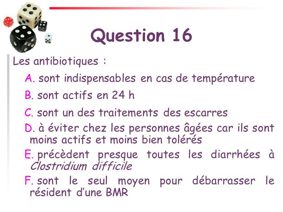 Question 16 Les antibiotiques :