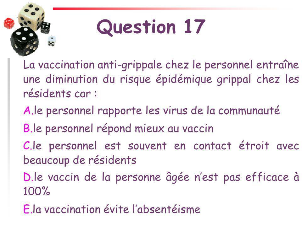 Question 17 La vaccination anti-grippale chez le personnel entraîne une diminution du risque épidémique grippal chez les résidents car :