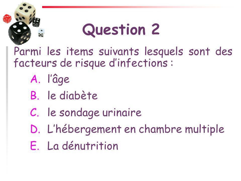 Question 2 Parmi les items suivants lesquels sont des facteurs de risque d'infections : l'âge. le diabète.