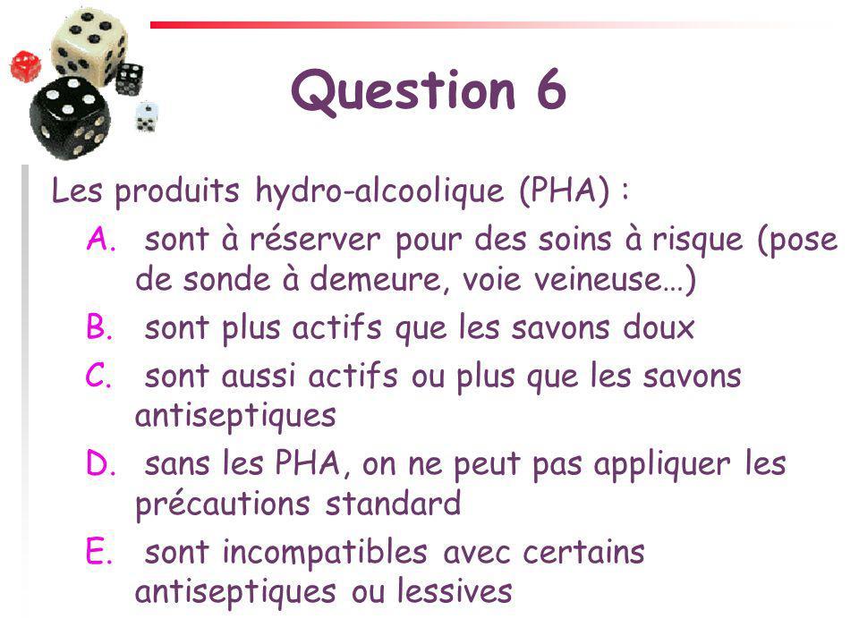 Question 6 Les produits hydro-alcoolique (PHA) :