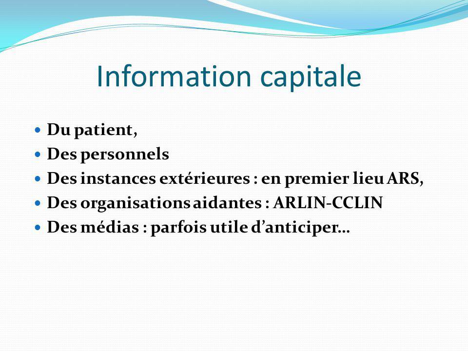 Information capitale Du patient, Des personnels