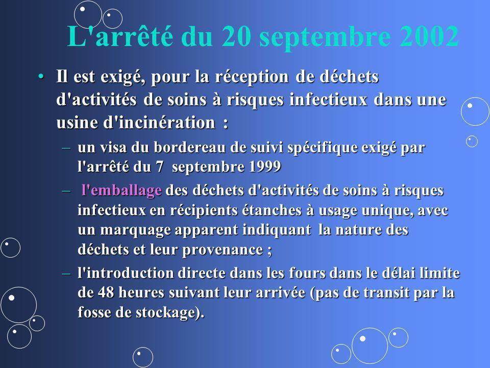 L arrêté du 20 septembre 2002 Il est exigé, pour la réception de déchets d activités de soins à risques infectieux dans une usine d incinération :