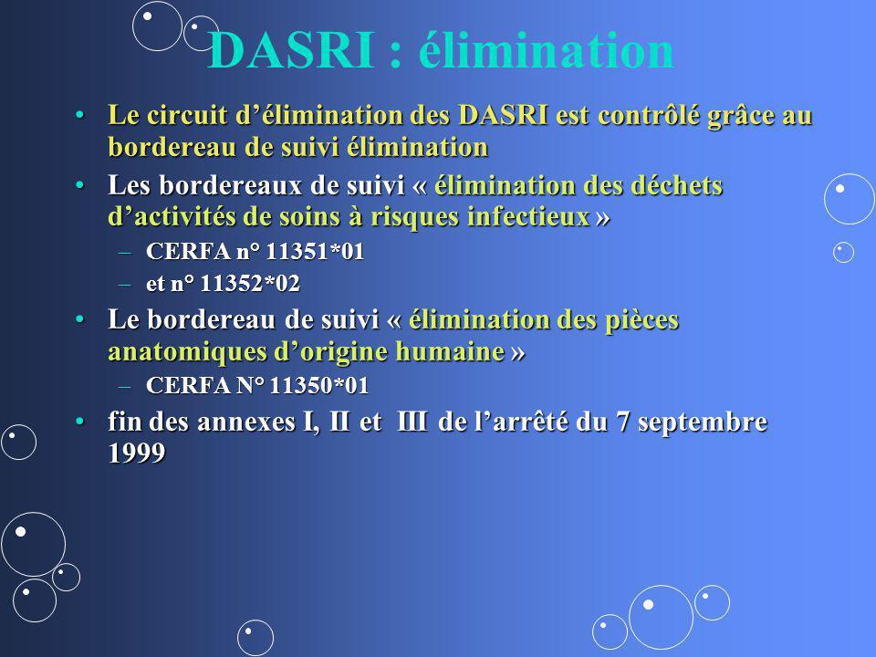 DASRI : élimination Le circuit d'élimination des DASRI est contrôlé grâce au bordereau de suivi élimination.