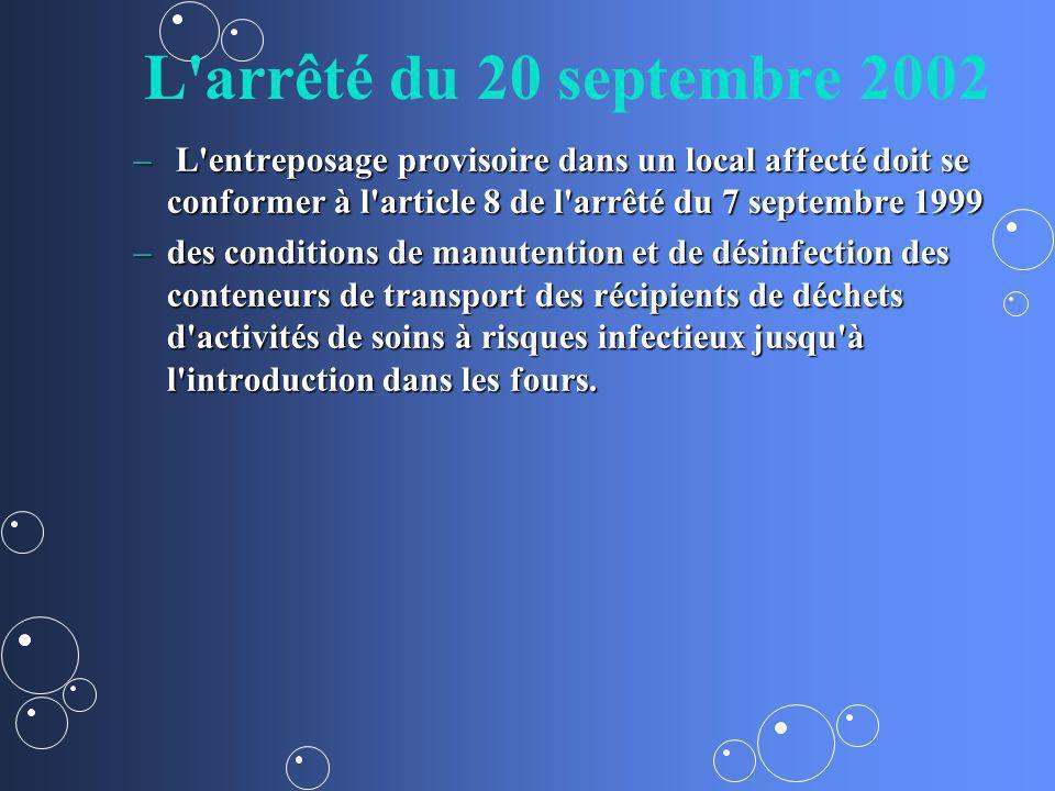 L arrêté du 20 septembre 2002 L entreposage provisoire dans un local affecté doit se conformer à l article 8 de l arrêté du 7 septembre 1999.