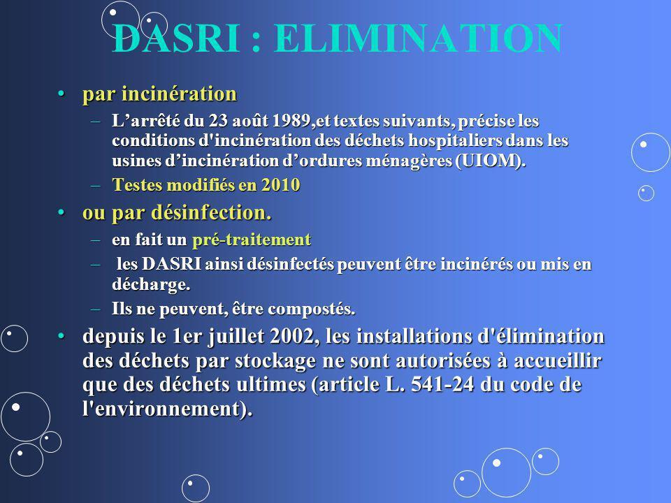 DASRI : ELIMINATION par incinération ou par désinfection.