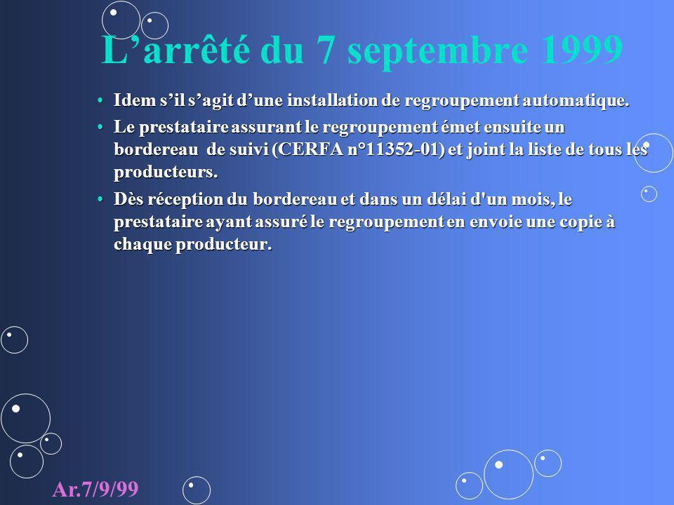 L'arrêté du 7 septembre 1999 Ar.7/9/99