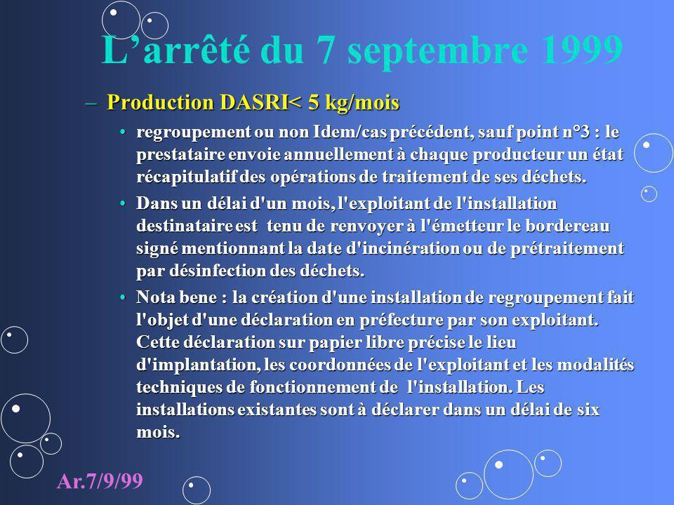 L'arrêté du 7 septembre 1999 Production DASRI< 5 kg/mois Ar.7/9/99