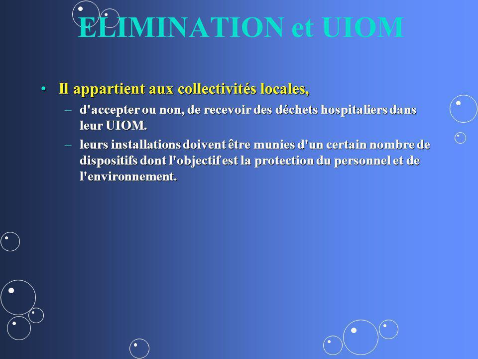 ELIMINATION et UIOM Il appartient aux collectivités locales,