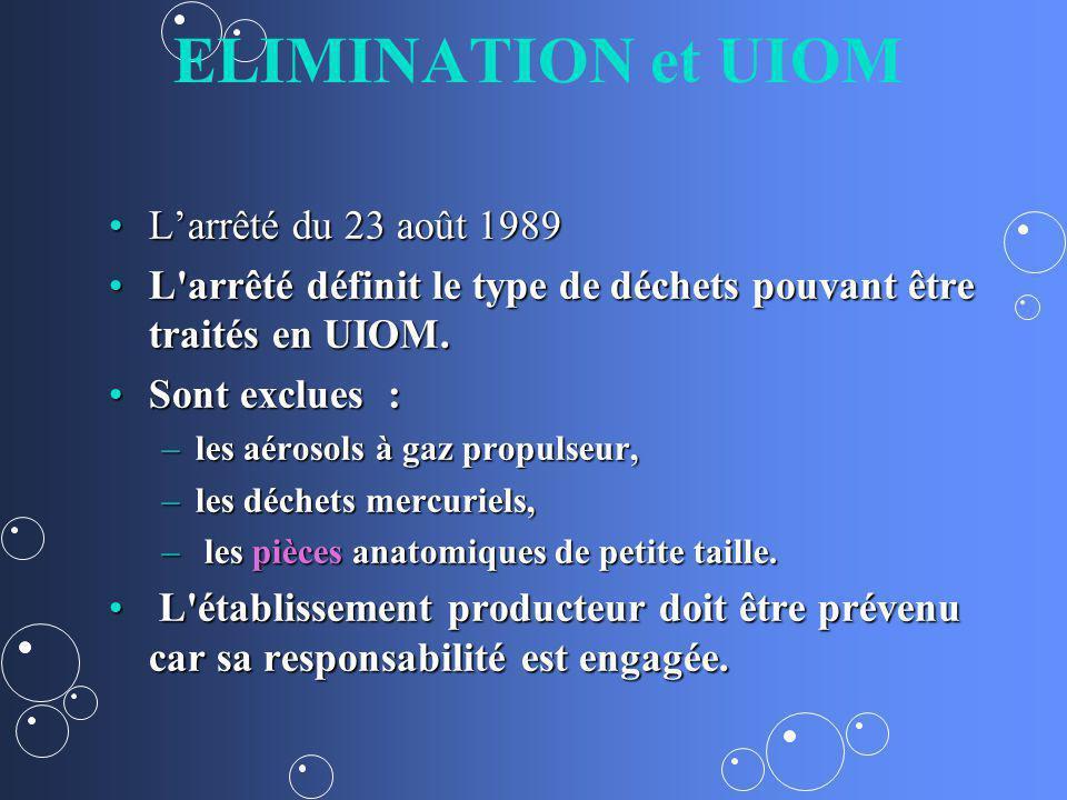 ELIMINATION et UIOM L'arrêté du 23 août 1989