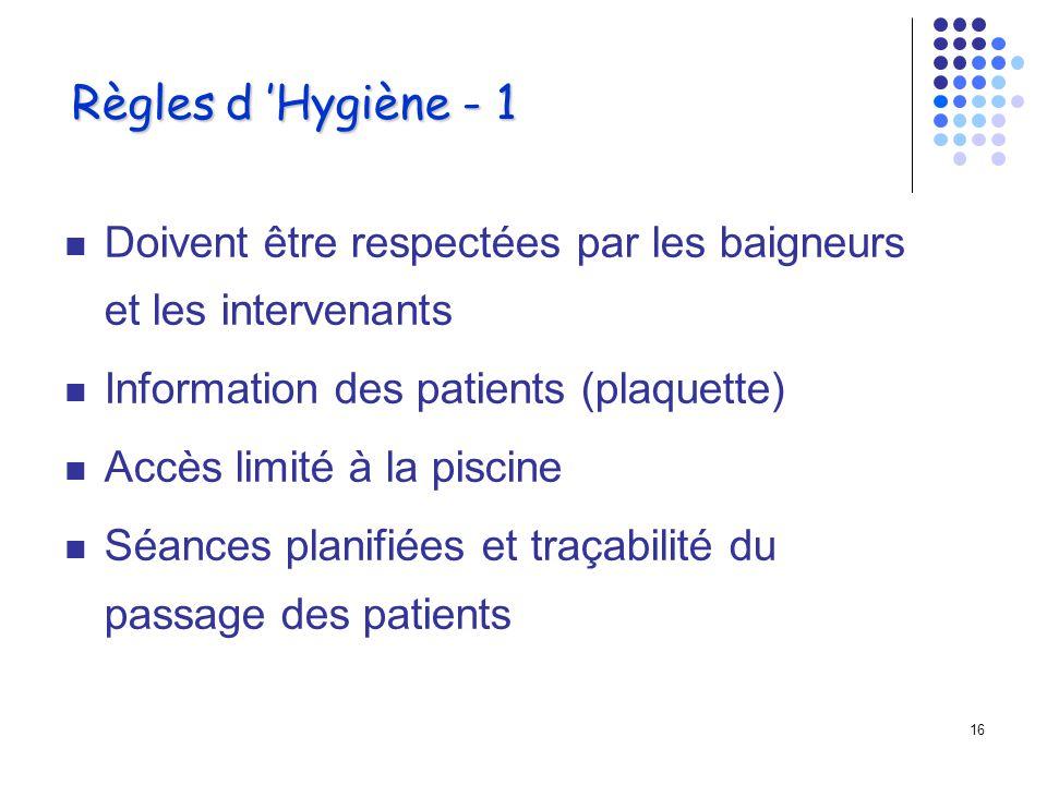 Règles d 'Hygiène - 1 Doivent être respectées par les baigneurs et les intervenants. Information des patients (plaquette)