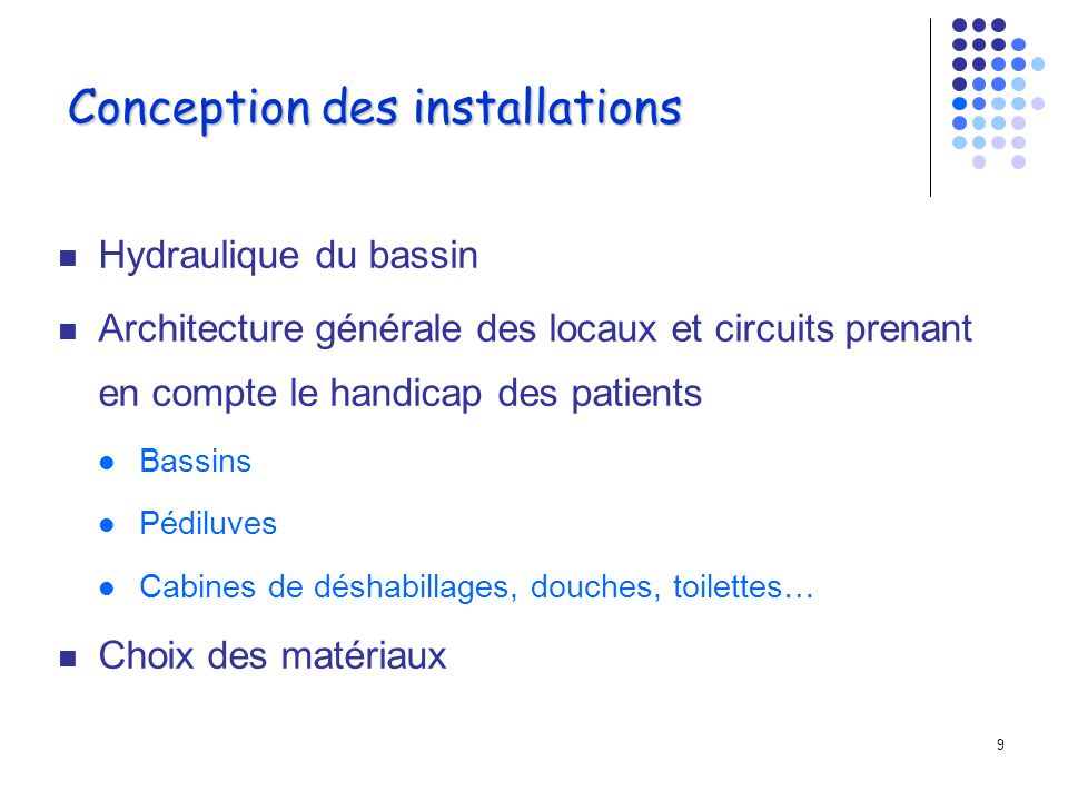 Conception des installations