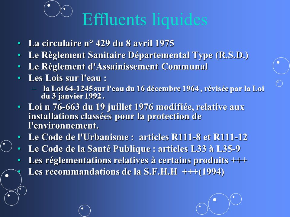 Effluents liquides La circulaire n° 429 du 8 avril 1975
