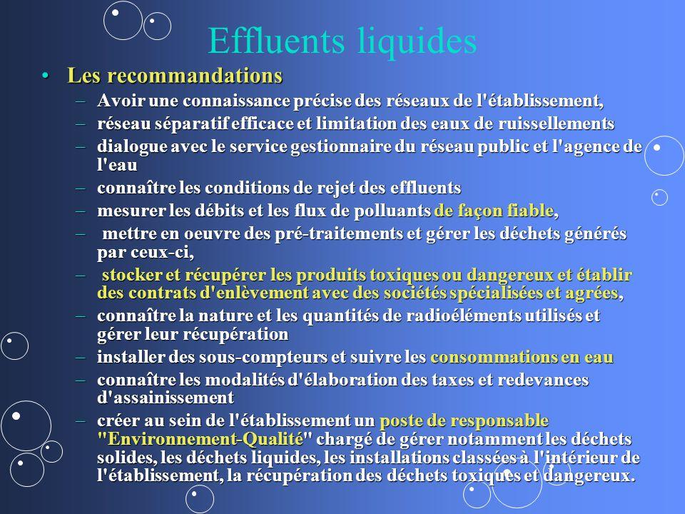 Effluents liquides Les recommandations