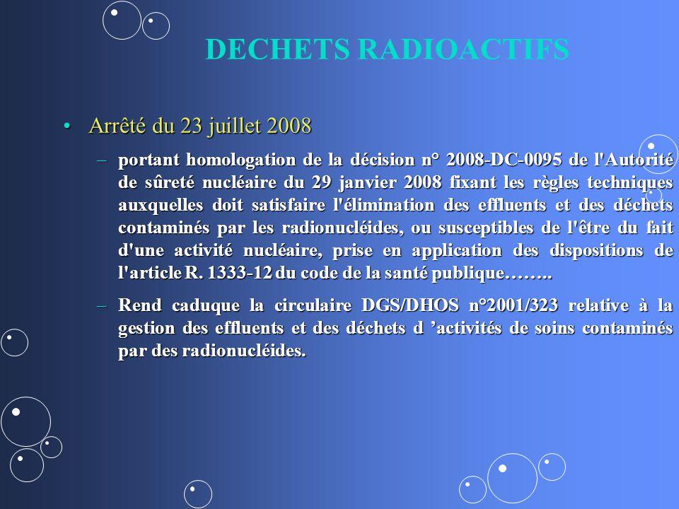 DECHETS RADIOACTIFS Arrêté du 23 juillet 2008