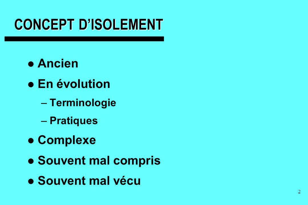 CONCEPT D'ISOLEMENT Ancien En évolution Complexe Souvent mal compris