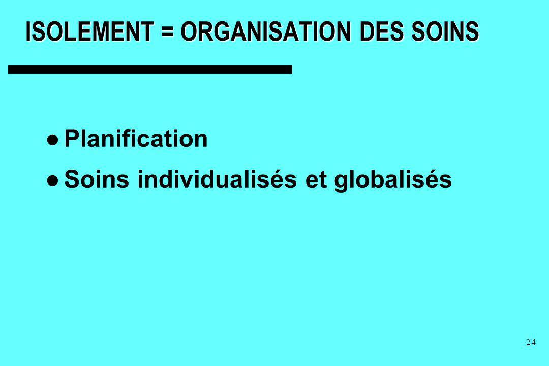 ISOLEMENT = ORGANISATION DES SOINS