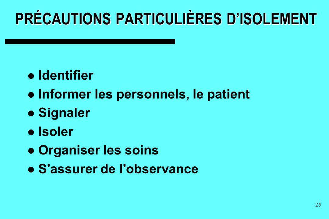 PRÉCAUTIONS PARTICULIÈRES D'ISOLEMENT