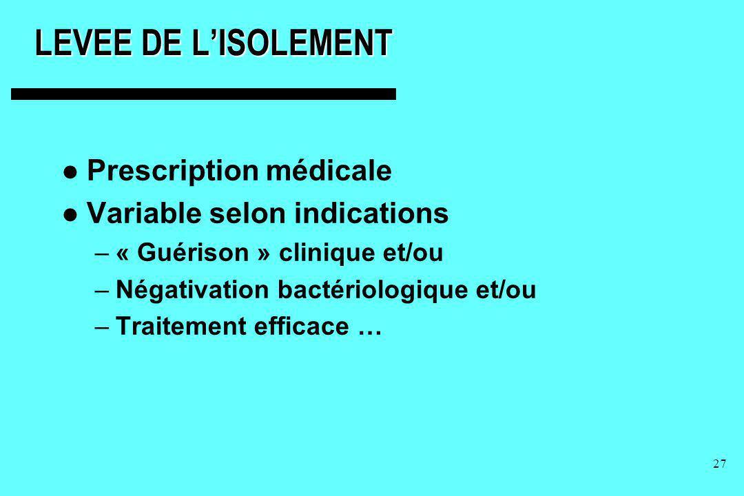 LEVEE DE L'ISOLEMENT Prescription médicale Variable selon indications