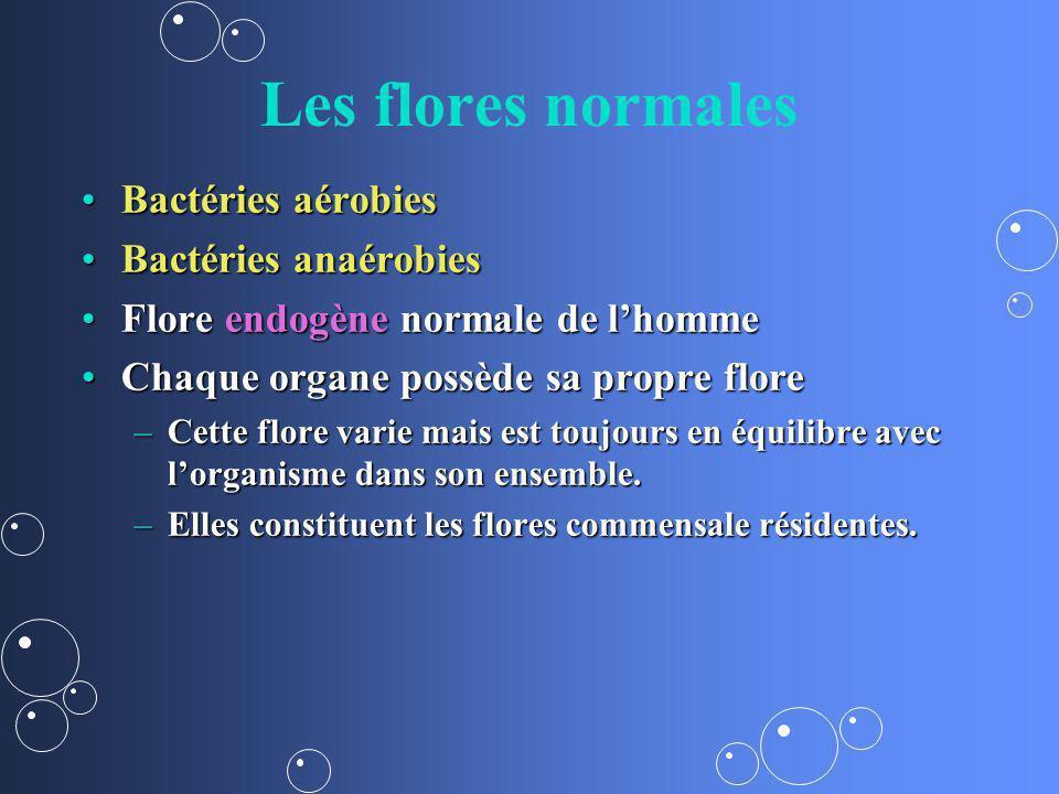 Les flores normales Bactéries aérobies Bactéries anaérobies