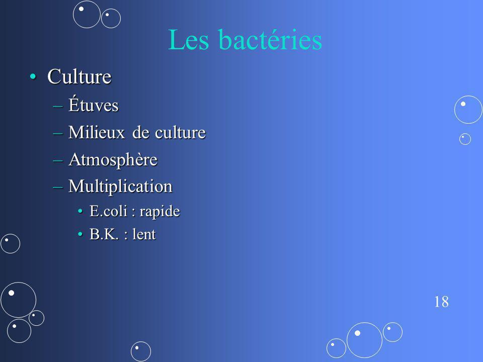 Les bactéries Culture Étuves Milieux de culture Atmosphère
