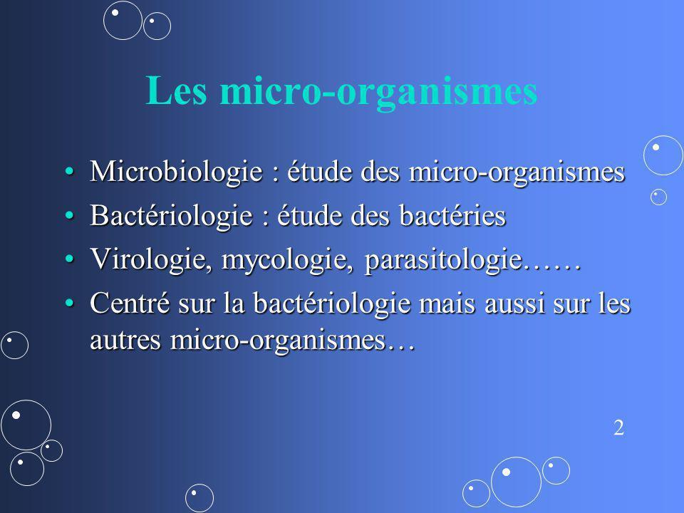 Les micro-organismes Microbiologie : étude des micro-organismes
