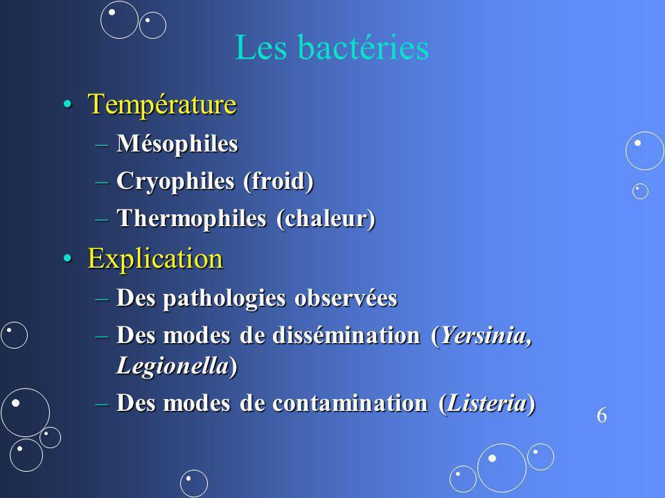 Les bactéries Température Explication Mésophiles Cryophiles (froid)