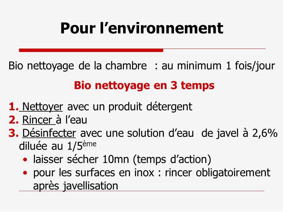 Pour l'environnement Bio nettoyage de la chambre : au minimum 1 fois/jour. Bio nettoyage en 3 temps.