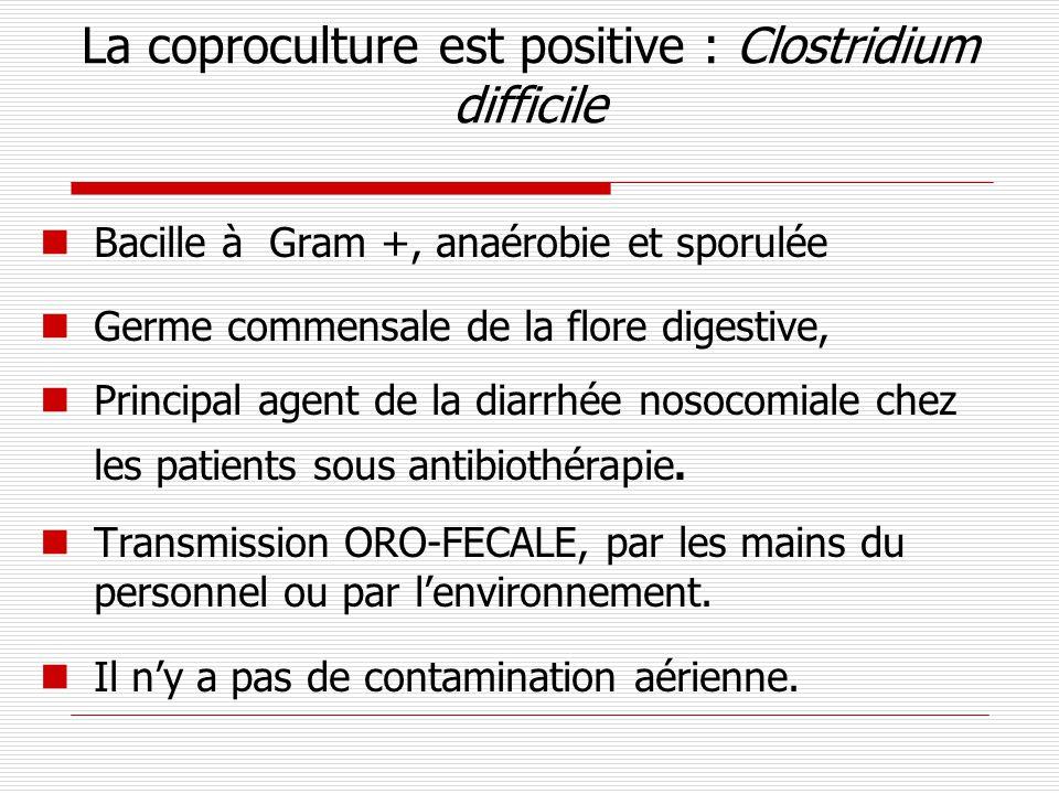 La coproculture est positive : Clostridium difficile