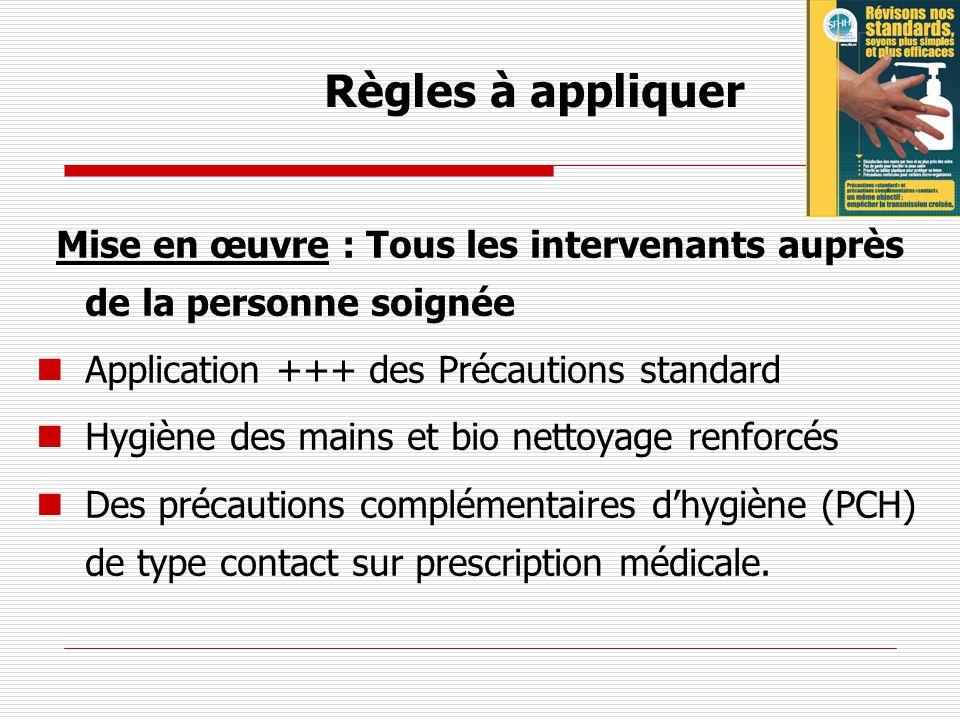 Règles à appliquer Application +++ des Précautions standard