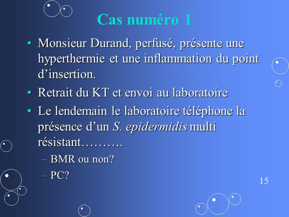 Cas numéro 1 Monsieur Durand, perfusé, présente une hyperthermie et une inflammation du point d'insertion.