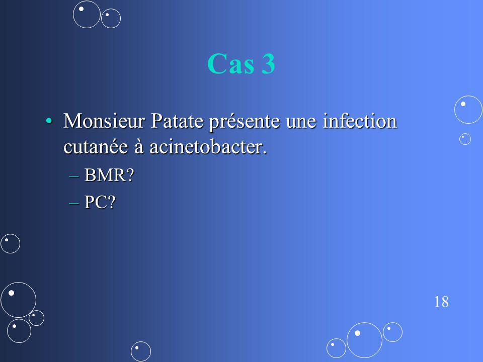 Cas 3 Monsieur Patate présente une infection cutanée à acinetobacter.