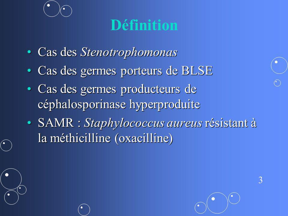 Définition Cas des Stenotrophomonas Cas des germes porteurs de BLSE
