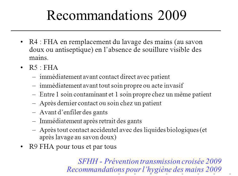 Recommandations 2009 SFHH - Prévention transmission croisée 2009