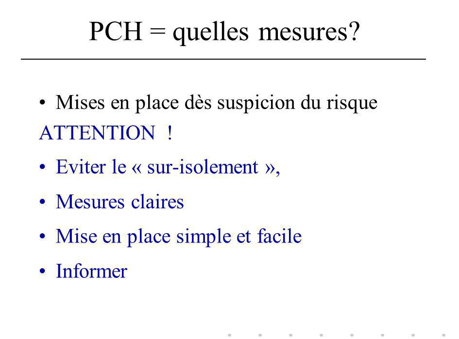 PCH = quelles mesures Mises en place dès suspicion du risque