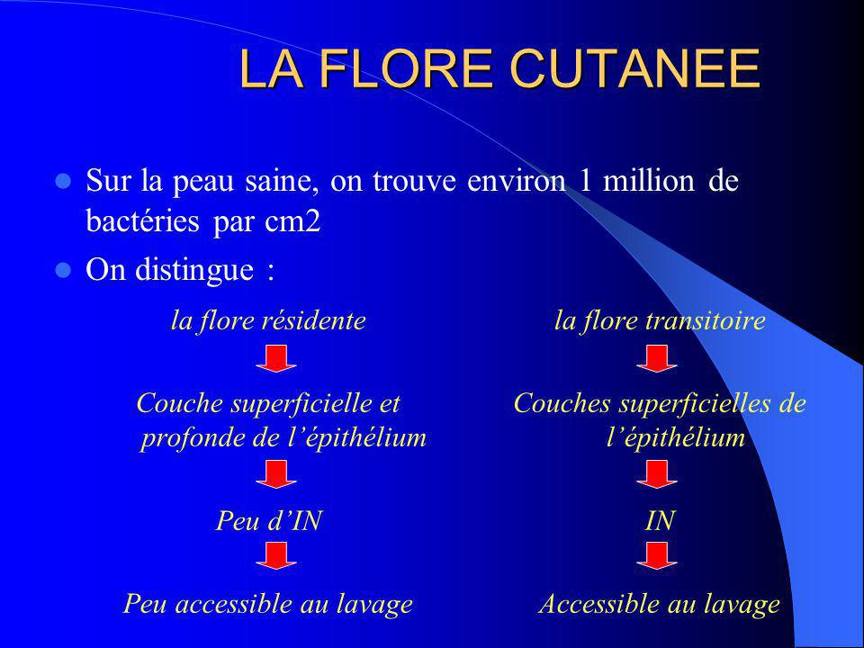 LA FLORE CUTANEE Sur la peau saine, on trouve environ 1 million de bactéries par cm2. On distingue :