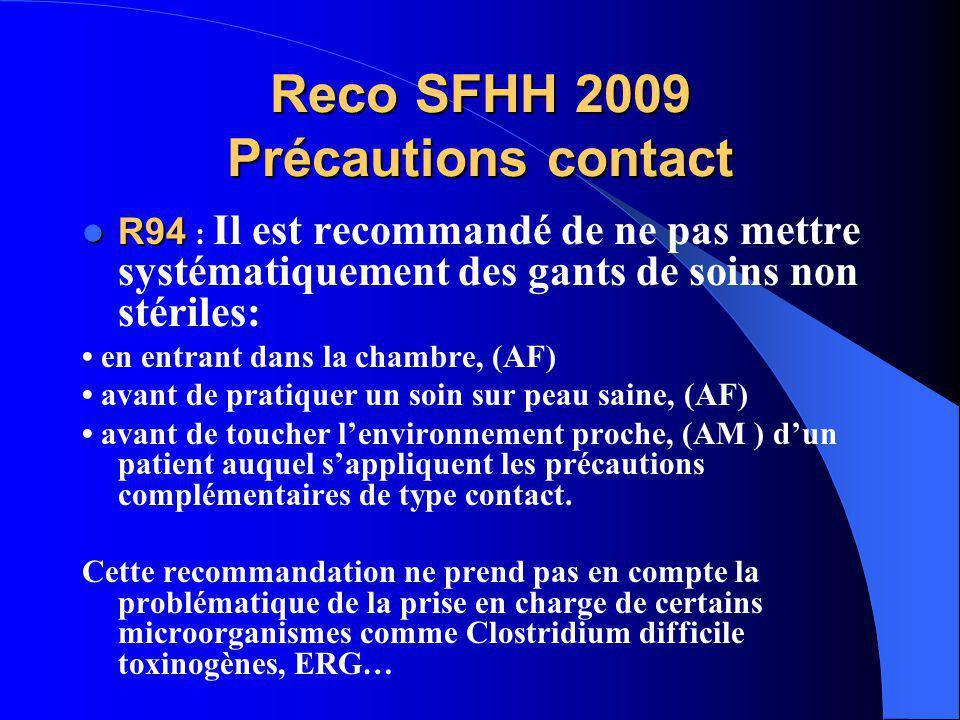 Reco SFHH 2009 Précautions contact
