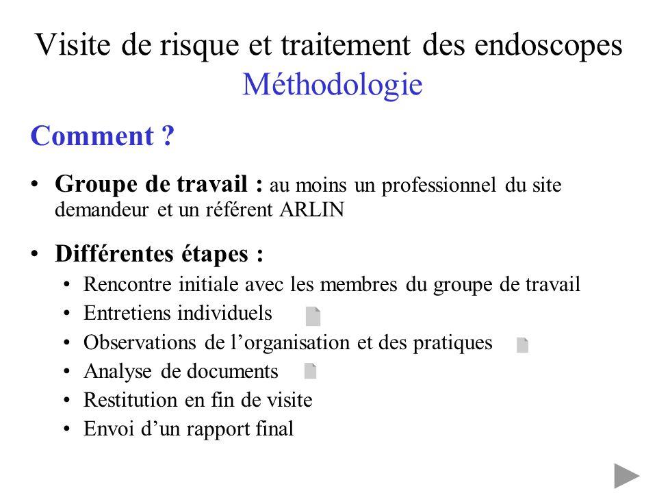 Visite de risque et traitement des endoscopes Méthodologie