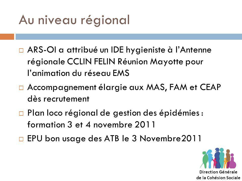 Au niveau régional ARS-OI a attribué un IDE hygieniste à l'Antenne régionale CCLIN FELIN Réunion Mayotte pour l'animation du réseau EMS.