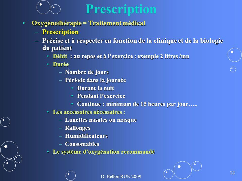 Prescription Oxygénothérapie = Traitement médical Prescription