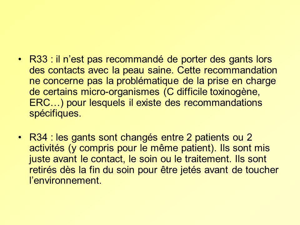 R33 : il n'est pas recommandé de porter des gants lors des contacts avec la peau saine. Cette recommandation ne concerne pas la problématique de la prise en charge de certains micro-organismes (C difficile toxinogène, ERC…) pour lesquels il existe des recommandations spécifiques.