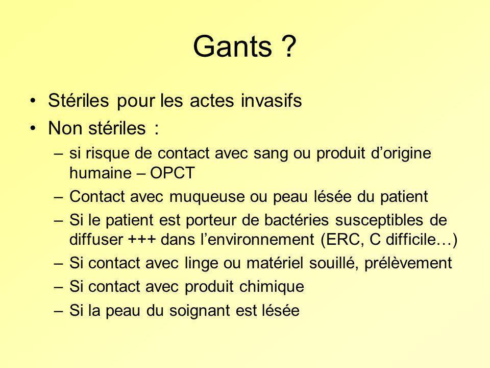Gants Stériles pour les actes invasifs Non stériles :