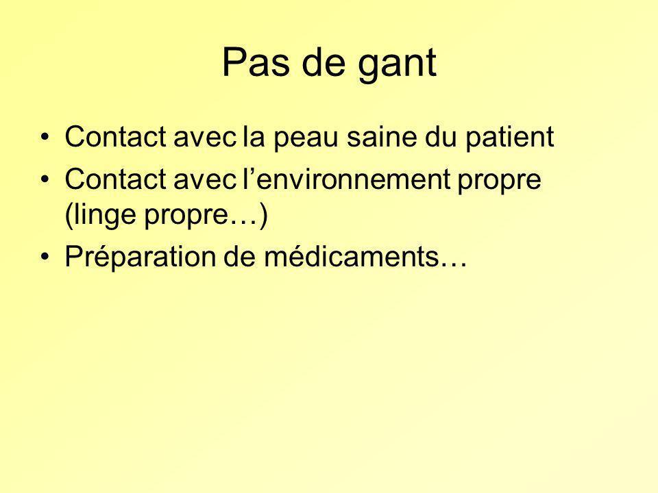 Pas de gant Contact avec la peau saine du patient