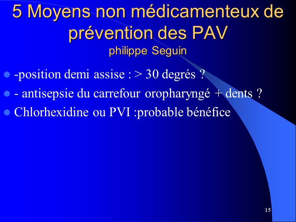 5 Moyens non médicamenteux de prévention des PAV philippe Seguin