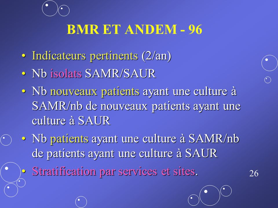 BMR ET ANDEM - 96 Indicateurs pertinents (2/an) Nb isolats SAMR/SAUR