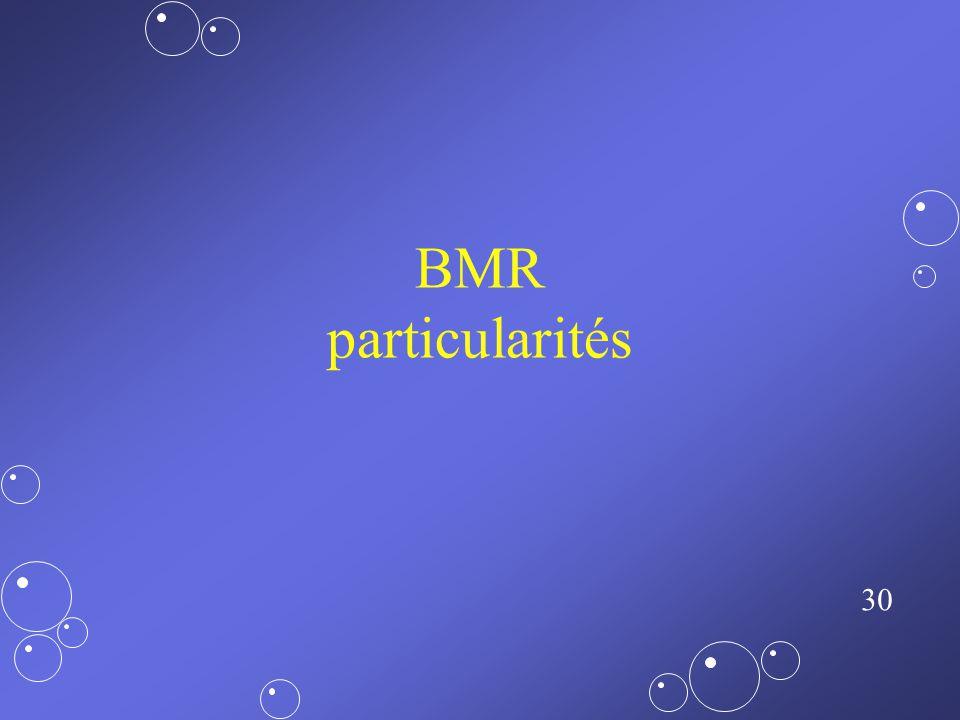 BMR particularités