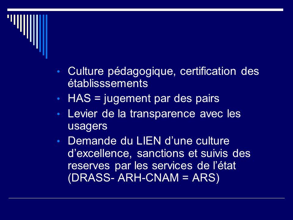 Culture pédagogique, certification des établisssements