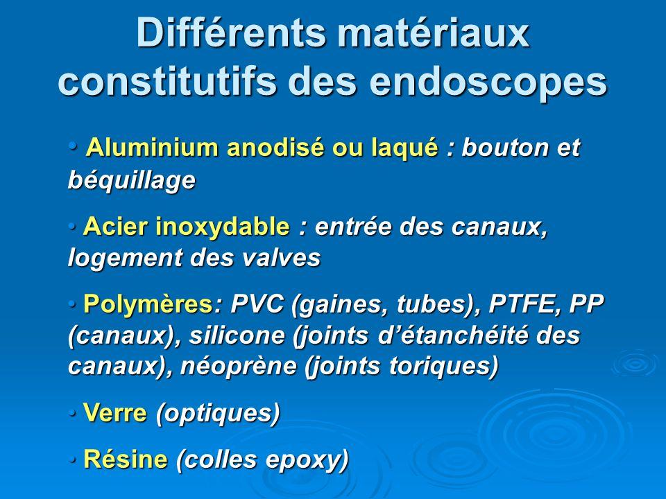 Différents matériaux constitutifs des endoscopes