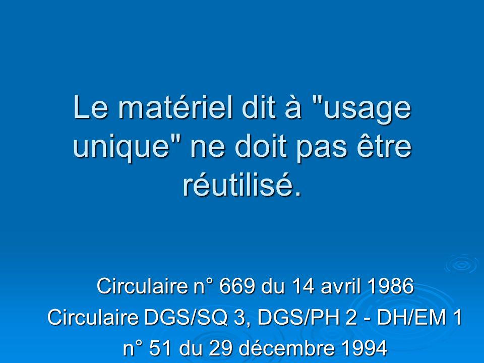 Le matériel dit à usage unique ne doit pas être réutilisé.