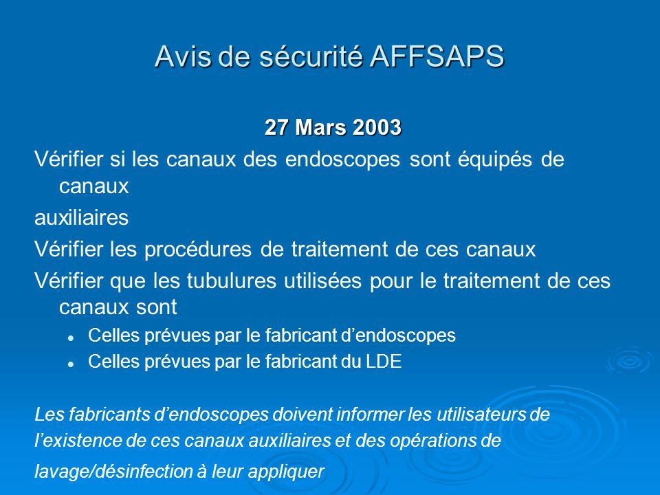 Avis de sécurité AFFSAPS