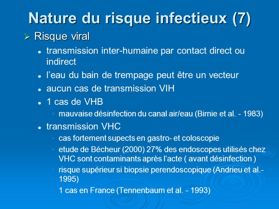 Nature du risque infectieux (7)